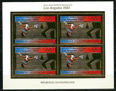 Centre Africaine 1982 Olympic games JO Los Angeles Gold foil Or Michel 859 A