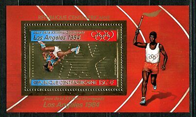 Centre Africaine 1982 Olympic games JO Los Angeles Gold foil Or Michel Bloc 199