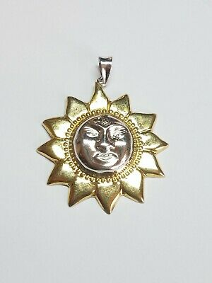 Vintage NF 925 Sterling Silver Two Tone Sun Face Pendant