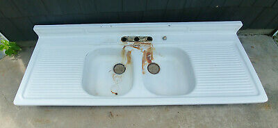 "Vintage White Porcelain Over Steel 66"" Double Basin Drainboard Farmhouse Sink"