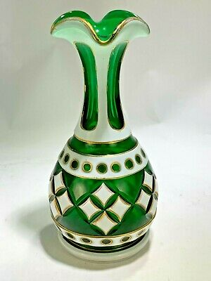 Antique Moser Czech Bohemian Cased Art Glass Vase White Overlay Cut To Green