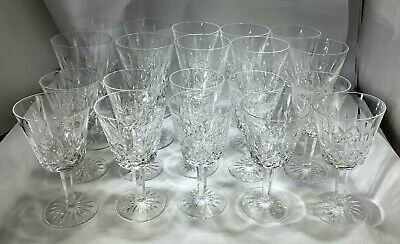 Waterford Lismore Pattern Crystal Set 10 Tall Water Goblets & 10 Wine Goblets