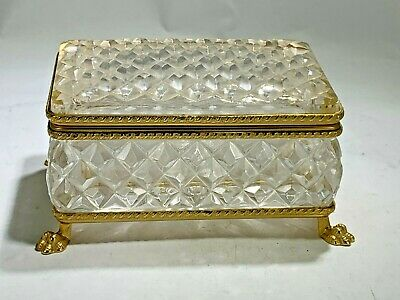 Antique French Cut Diamond Crystal And Ormolu Footed Box