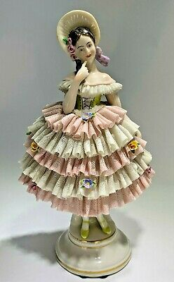 """Vintage Porcelain Lace Dresden Germany """"Pink & White Ruffles"""" Large Statue"""