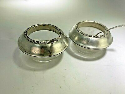 Antique Pair of Fine Arts Sterling Silver Open Salt Cellars with Spoons