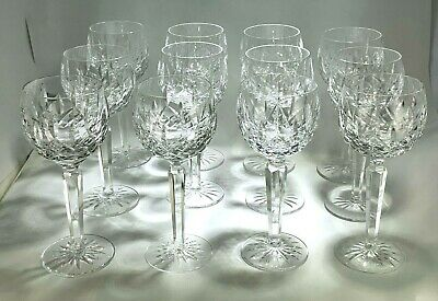 Elegant Set of 12 Waterford Lismore Wine Hock Crystal Glasses Made In Ireland