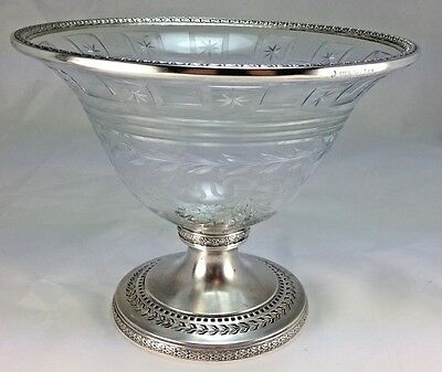 Antique Center Piece  Black Starr & Frost Etched Crystal Bowl & Sterling Silver