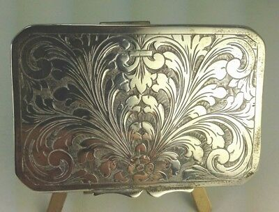 Antique 800 Silver Florence Italy Ornate  Etched Snuff Box