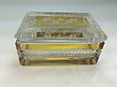 Bohemian Art Deco Crystal  Amber To Clear Floral Etched  Dresser Box