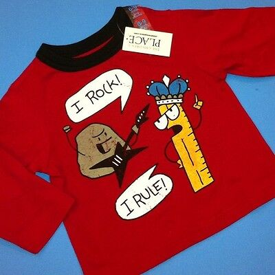 "*NEW! ""I Rock! I Rule!"" Baby Boys Shirt 6-9 12 24 Months 3T 4T Red Gift! School"