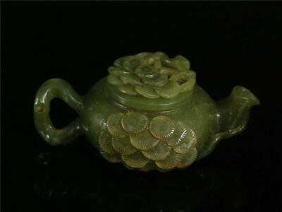 Old Chinese Celadon Nephrite Jade Teapot W/ COVER OLD PINE TREES ON SURFACE TOP