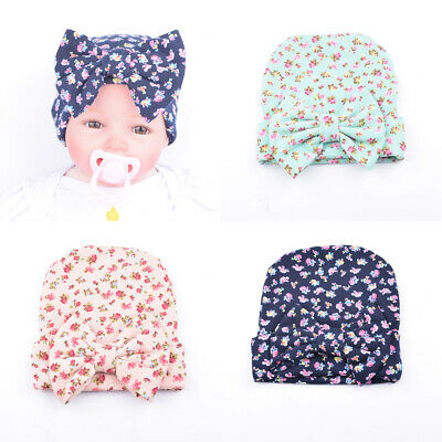 Newborn Baby Boy Girls Bow Floral Print Flower Hat Warm Headwear Cap Hats