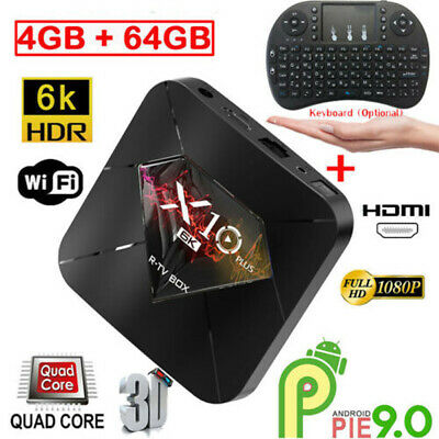 X10 PLUS Smart TV Box Android9.0 4+64G WiFi 6K Quad Core Player+Keyboard Lot LCD