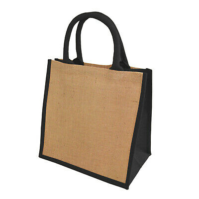 1 JUTE HESSIAN NATURAL WITH BLACK TRIM LARGE DELUXE SHOPPING BAG 40x40x15CMs