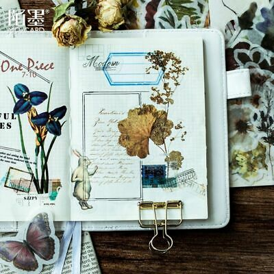 60 Sheets Decorative Vintage Journal Diary Skull Paper Plant Flower Sticker Gold