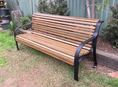 Cast Iron Garden Bench Seat Park Antique Vintage Outdoor Railway Steel Framed