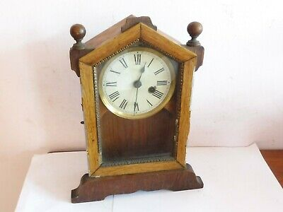 Antique Wooden Cased Windup  Clock  Movement Finialed Mantle Clock