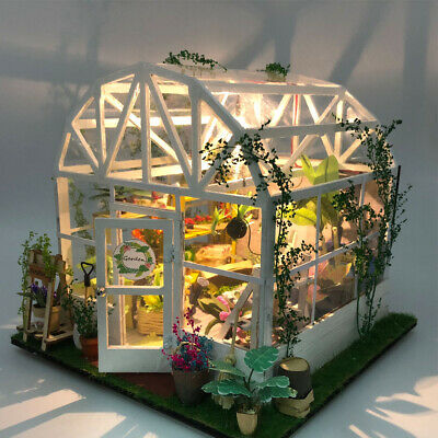 Diy Wooden Doll House Toy Dollhouse Miniature Assemble Kit With Led