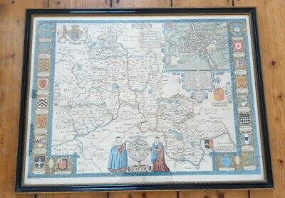 John Speed Map Of Oxfordshire 1627, Framed, Fantastic Condition