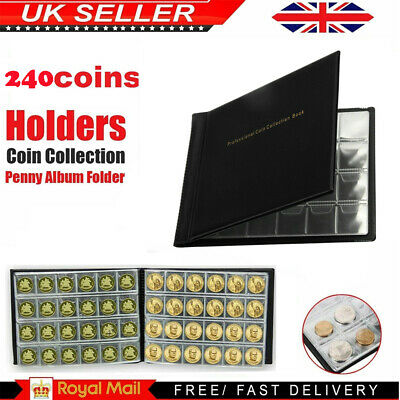 UK 240 Album Coin Penny Money Storage Book Case Folder Holder Collection 1-Style
