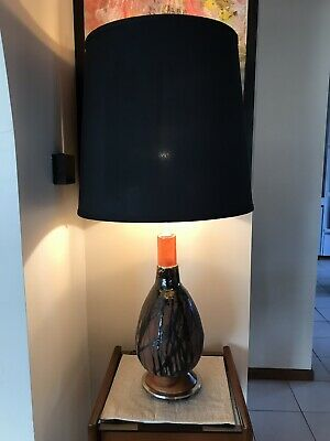 Retro pottery, Teak and Chrome lamp.