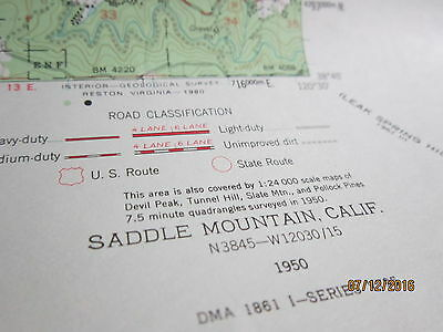 US Dept of Interior Geological Survey Map SADDLE MOUNTAIN CA TOPOGRAPHIC 1950