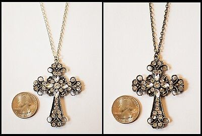 Large Rhinestone Cross Pendant Necklace- Choose Antique Silver or Bronze