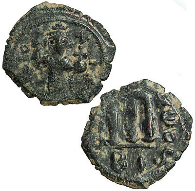 Byzantine follis of Constans II. Constantinople. First regnal year.