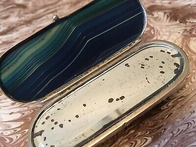 Antique AGATE Miniature BRUSH with HIDDEN COMPARTMENT and Vanity MIRROR