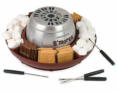 Nostalgia LSM400 Indoor Electric Stainless Steel S'mores Maker with 4 Lazy Su...