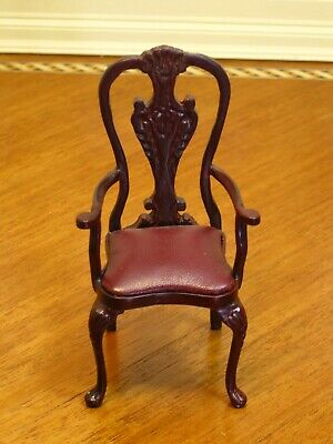 Bespaq Mahogany Chippendale Carver Chair w/ Red Leather Seat Dollhouse Miniature