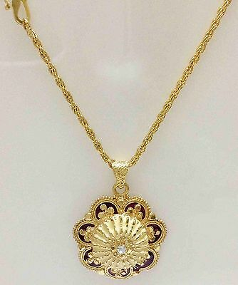 22k 24ct 24k Gold Plated Indian Bollywood Filigree Chain Pendant Locket 22 inch