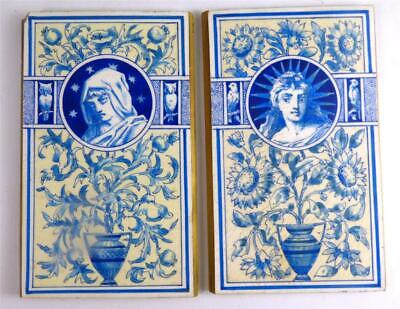 Pair Antique French Hand Painted Porcelain Plaques Panels Liberty