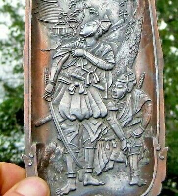 Silvered Copper Antique Asian / Chinese / Japanese Samurai Warrior Relief Tray
