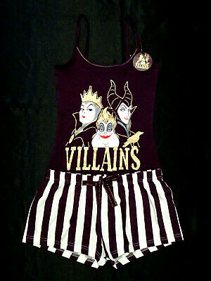 Villans Official Disney Ladies Vest & Shorts Pyjama Set Pj's Bnwt Primark