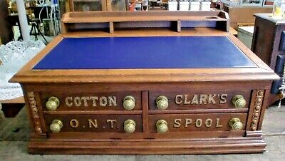 Antique Clark's Oak Spool Cabinet Lift Top 4 Drawers