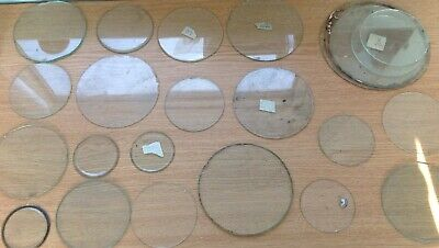 Clock Glass Collection Flat Round 53-140mm All With Imperfections Ex Clockmaker