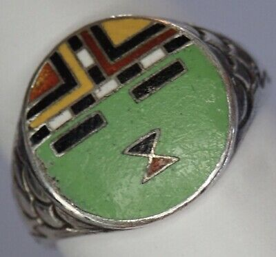 Unusual Antique Art Deco Southwest Themed Sterling Silver Enamel Face Ring