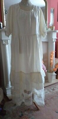 Beautiful Cream Cotton And Lace 2XL Dress. Dressing Up/Steam Punk/Victorian...