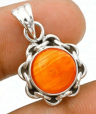 """Natural Orange Carnelian 925 Solid Sterling Silver Pendant Jewelry 1 1/5"""" C16-6"""