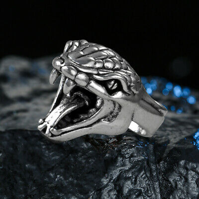 Cool Silver Plated Retro Punk Men's Ring Night Club Animal Snake Jewelry Size 8