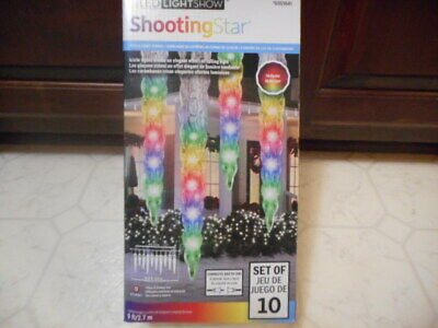 Gemmy Lightshow Set 8 White Color LED Falling Shooting Star Light Show Christmas