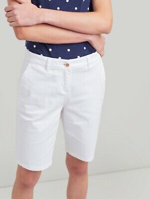 Joules Cruise Longer Length Chino Shorts White Size UK 18 BNWT NEW