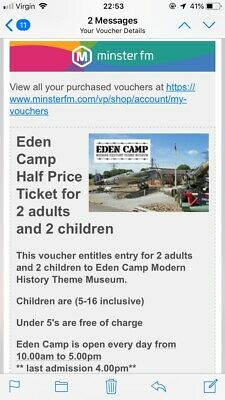 Days Out Tickets Eden Camp Yorkshire  Family Pass voucher. 2 + 2.