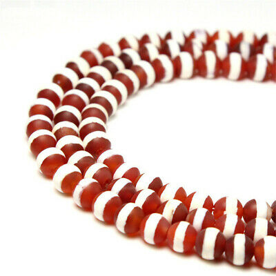 1pcs Red-White Frosted Agate Round Loose Dzi Bead Spacer Craft Opaque DIY Stone