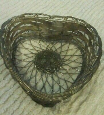 Old Antique  Heart Form Tin and WIRE Basket Patina Folky