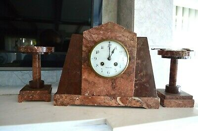 Antique Art Deco  Rose Marble Mantel Clock with Pair Candelabras Circa 1930