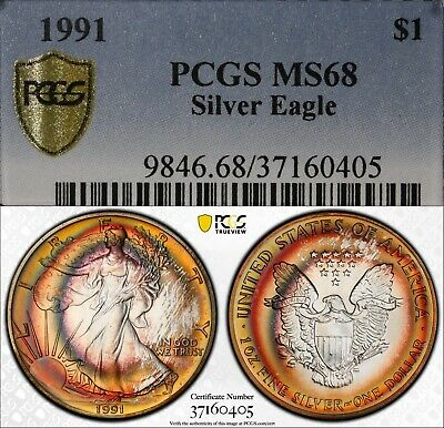 1991 $1 ASE American Silver Eagle coin PCGS MS68 monster rainbow toner toned