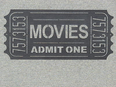 Large Wooden Wall Movie Ticket Wall Art Admit One Theater Sign Art Decor