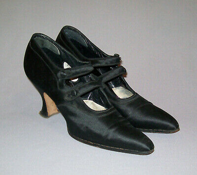Antique Vtg 19th C 1890s Edwardian Ladies High Heel Silk Shoes Size 5 Victorian